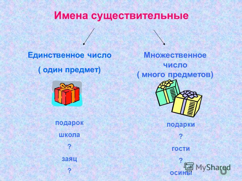 Имена существительные Единственное число ( один предмет) Множественное число ( много предметов) подарок школа ? заяц ? подарки ? гости ? осины