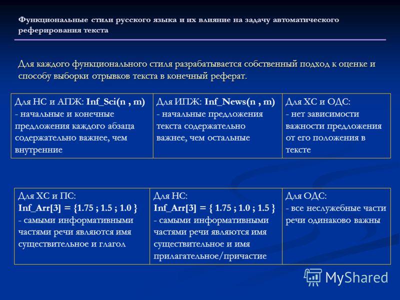 Для каждого функционального стиля разрабатывается собственный подход к оценке и способу выборки отрывков текста в конечный реферат. Функциональные стили русского языка и их влияние на задачу автоматического реферирования текста Для НС и АПЖ: Inf_Sci(