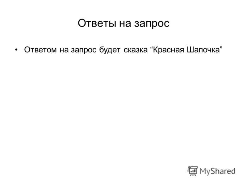 Ответы на запрос Ответом на запрос будет сказка Красная Шапочка