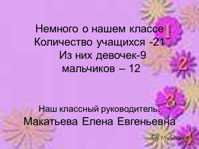 Немного о нашем классе Количество учащихся -21 Из них девочек-9 мальчиков – 12 Наш классный руководитель : Макатьева Елена Евгеньевна