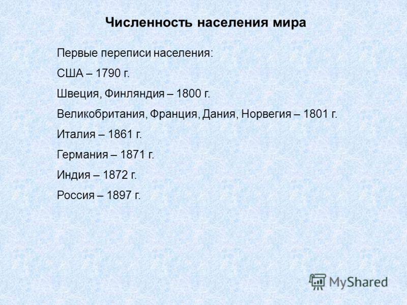 Численность населения мира Первые переписи населения: США – 1790 г. Швеция, Финляндия – 1800 г. Великобритания, Франция, Дания, Норвегия – 1801 г. Италия – 1861 г. Германия – 1871 г. Индия – 1872 г. Россия – 1897 г.