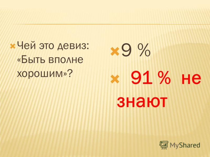 Чей это девиз: «Быть вполне хорошим»? 9 % 91 % не знают