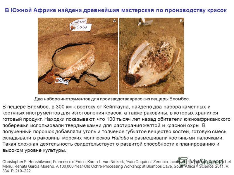 Два набора инструментов для производства красок из пещеры Бломбос. В Южной Африке найдена древнейшая мастерская по производству красок В пещере Бломбос, в 300 км к востоку от Кейптауна, найдено два набора каменных и костяных инструментов для изготовл