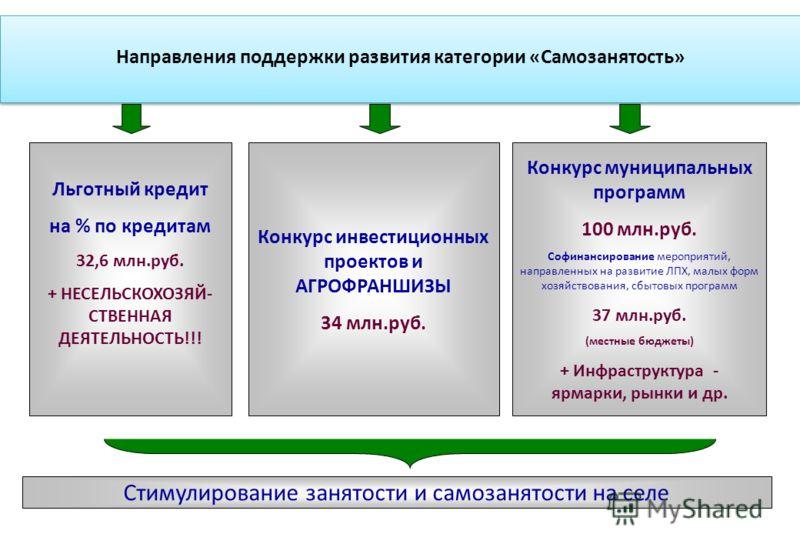 Конкурс муниципальных программ 100 млн.руб. Софинансирование мероприятий, направленных на развитие ЛПХ, малых форм хозяйствования, сбытовых программ 37 млн.руб. (местные бюджеты) + Инфраструктура - ярмарки, рынки и др. Стимулирование занятости и само