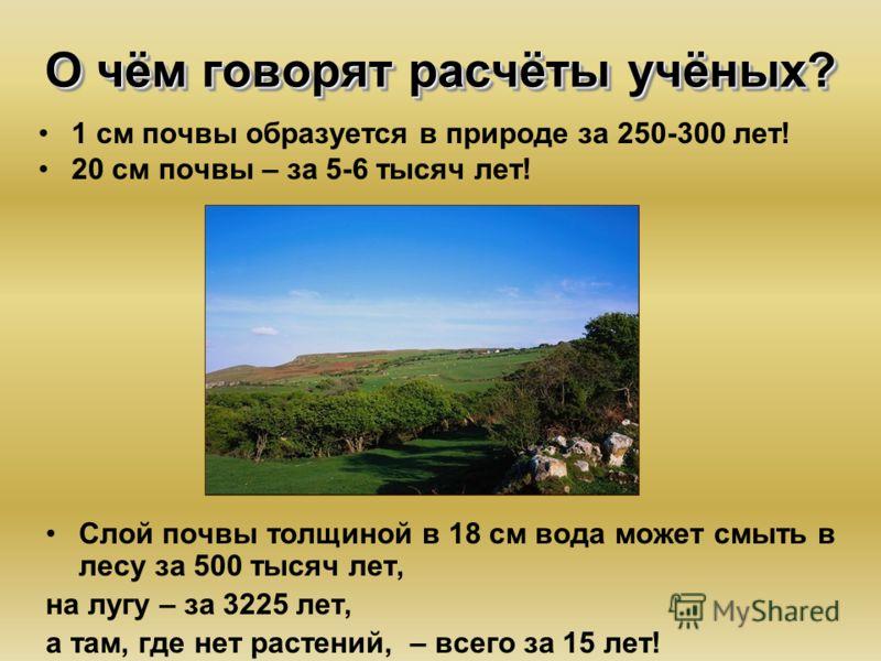О чём говорят расчёты учёных? 1 см почвы образуется в природе за 250-300 лет! 20 см почвы – за 5-6 тысяч лет! Слой почвы толщиной в 18 см вода может смыть в лесу за 500 тысяч лет, на лугу – за 3225 лет, а там, где нет растений, – всего за 15 лет!