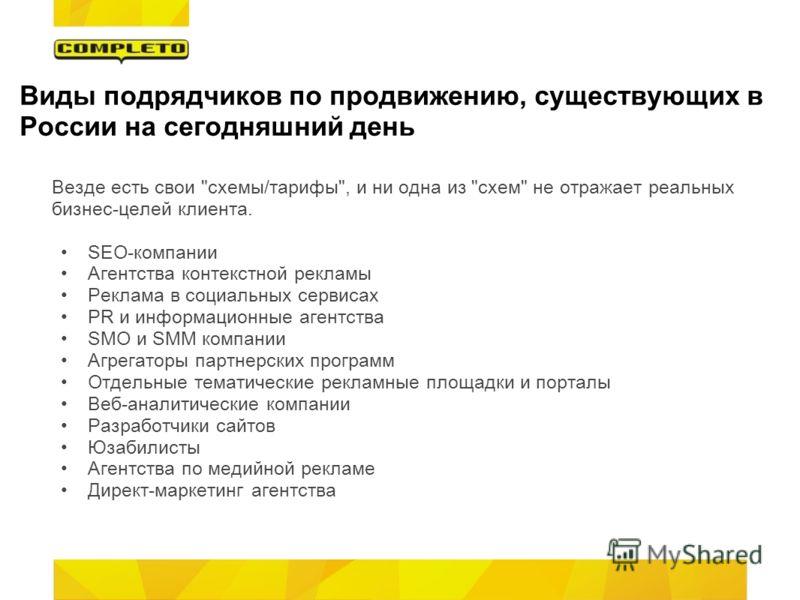 Виды подрядчиков по продвижению, существующих в России на сегодняшний день Везде есть свои