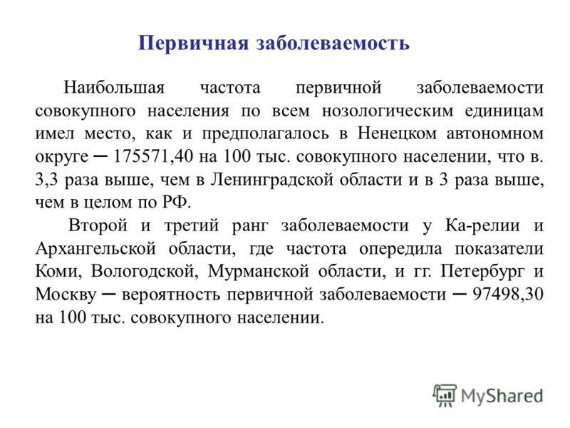 Первичная заболеваемость Наибольшая частота первичной заболеваемости совокупного населения по всем нозологическим единицам имел место, как и предполагалось в Ненецком автономном округе 175571,40 на 100 тыс. совокупного населении, что в. 3,3 раза выше