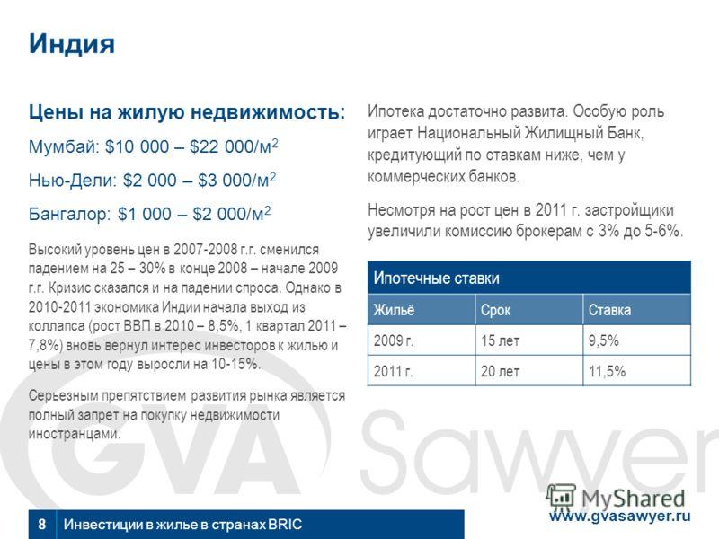 www.gvasawyer.ru Инвестиции в жилье в странах BRIC 8 Индия Цены на жилую недвижимость: Мумбай: $10 000 – $22 000/м 2 Нью-Дели: $2 000 – $3 000/м 2 Бангалор: $1 000 – $2 000/м 2 Высокий уровень цен в 2007-2008 г.г. сменился падением на 25 – 30% в конц