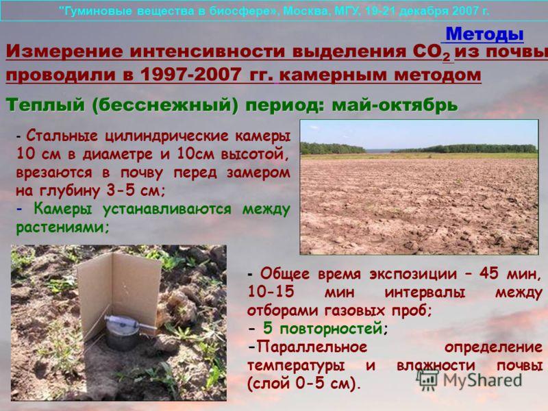 - Стальные цилиндрические камеры 10 cм в диаметре и 10см высотой, врезаются в почву перед замером на глубину 3-5 cм; - Камеры устанавливаются между растениями; Методы Измерение интенсивности выделения СО 2 из почвы проводили в 1997-2007 гг. камерным