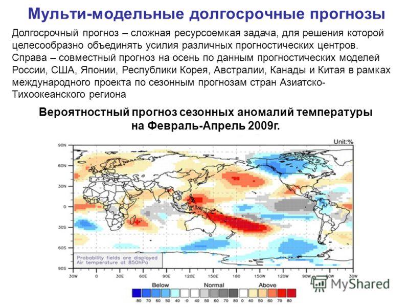 Мульти-модельные долгосрочные прогнозы Долгосрочный прогноз – сложная ресурсоемкая задача, для решения которой целесообразно объединять усилия различных прогностических центров. Справа – совместный прогноз на осень по данным прогностических моделей Р