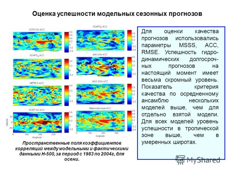 Оценка успешности модельных сезонных прогнозов Для оценки качества прогнозов использовались параметры MSSS, ACC, RMSE. Успешность гидро- динамических долгосроч- ных прогнозов на настоящий момент имеет весьма скромный уровень. Показатель критерия каче