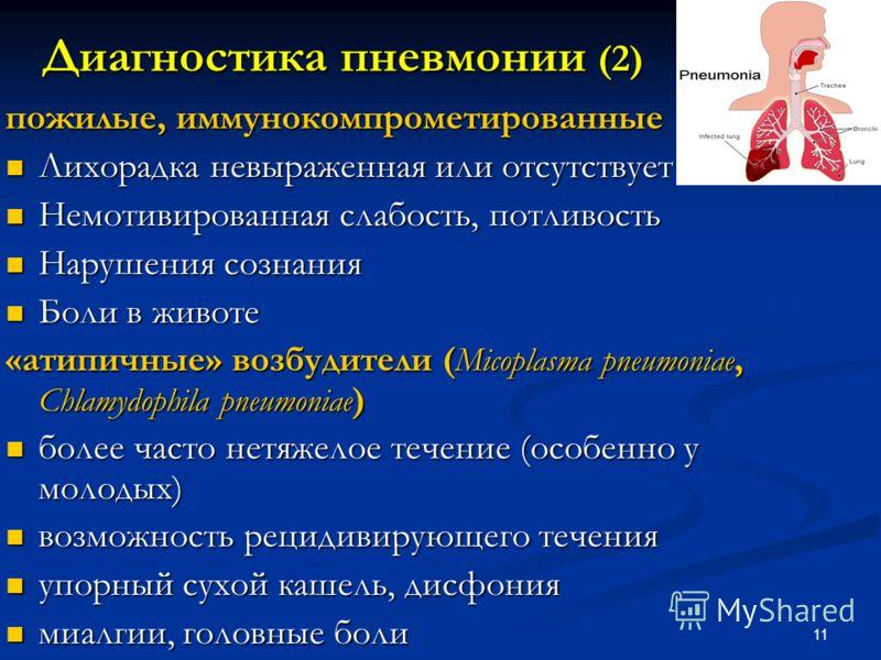 11 пожилые, иммунокомпрометированные Лихорадка невыраженная или отсутствует Лихорадка невыраженная или отсутствует Немотивированная слабость, потливость Немотивированная слабость, потливость Нарушения сознания Нарушения сознания Боли в животе Боли в