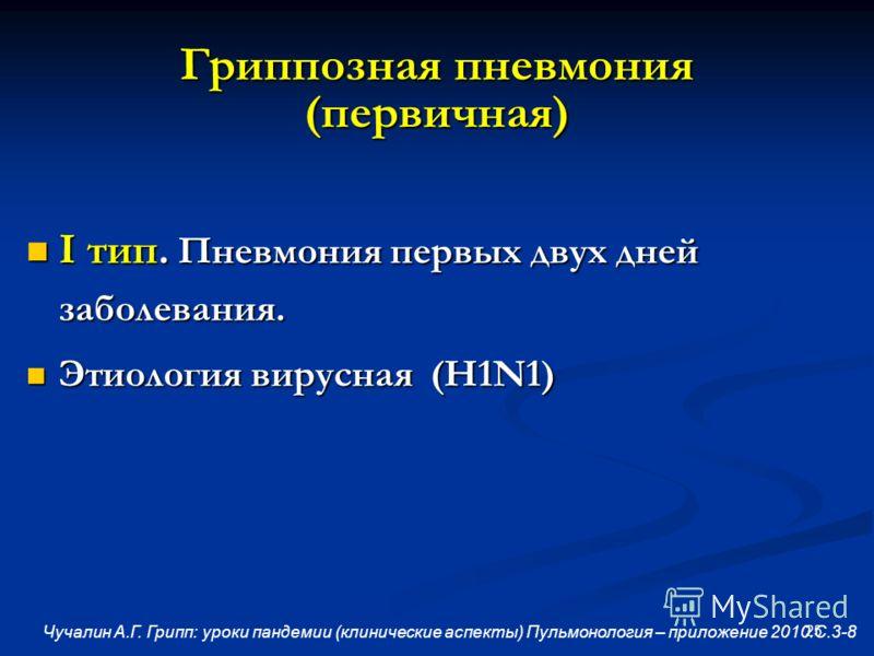 25 Гриппозная пневмония (первичная) I тип. Пневмония первых двух дней заболевания. I тип. Пневмония первых двух дней заболевания. Этиология вирусная (H1N1) Этиология вирусная (H1N1) Чучалин А.Г. Грипп: уроки пандемии (клинические аспекты) Пульмонолог