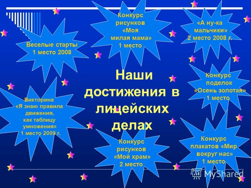 Конкурс поделок «Осень золотая» 1 место Конкурс рисунков «Мой храм» 2 место Викторина «Я знаю правила движения, как таблицу умножения» 1 место 2009 г. Конкурс рисунков «Моя милая мама» 1 место «А ну-ка мальчики» 2 место 2008 г. Конкурс плакатов «Мир