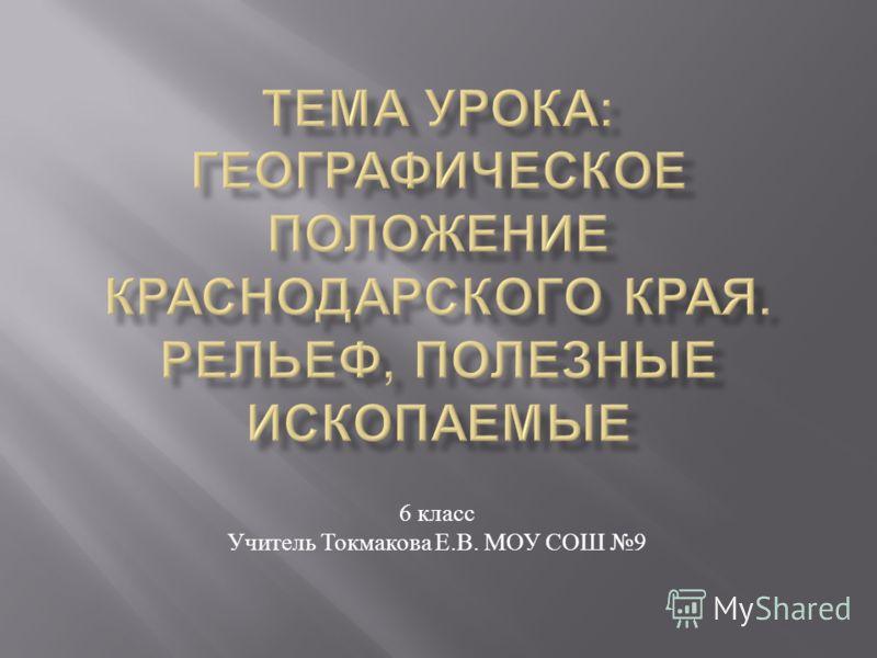 6 класс Учитель Токмакова Е. В. МОУ СОШ 9