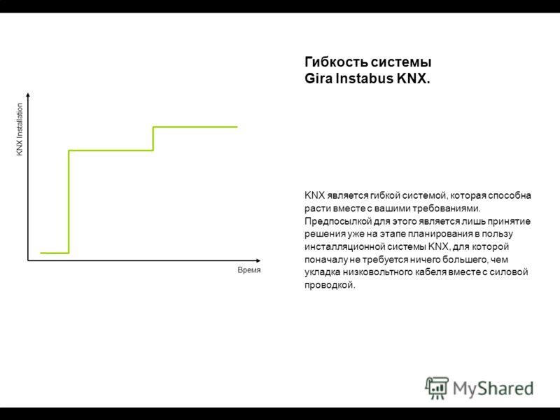 KNX Installation Время Гибкость системы Gira Instabus KNX. KNX является гибкой системой, которая способна расти вместе с вашими требованиями. Предпосылкой для этого является лишь принятие решения уже на этапе планирования в пользу инсталляционной сис