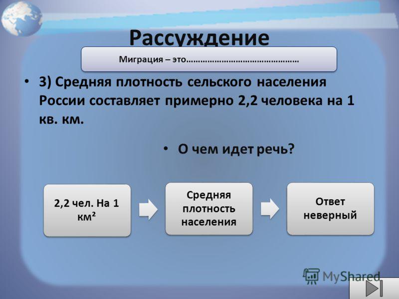 Рассуждение 3) Средняя плотность сельского населения России составляет примерно 2,2 человека на 1 кв. км. О чем идет речь? Миграция – это………………………………………… 2,2 чел. На 1 км² Средняя плотность населения Ответ неверный