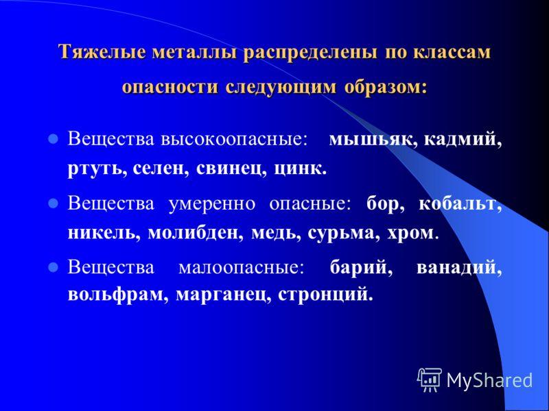 Тяжелые металлы распределены по классам опасности следующим образом: Вещества высокоопасные: мышьяк, кадмий, ртуть, селен, свинец, цинк. Вещества умеренно опасные: бор, кобальт, никель, молибден, медь, сурьма, хром. Вещества малоопасные: барий, ванад