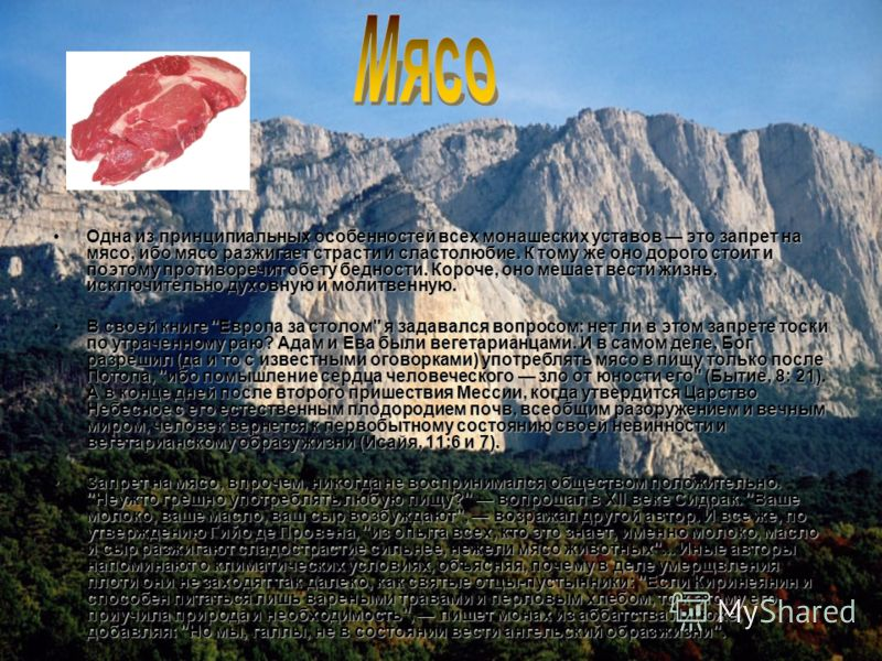 Одна из принципиальных особенностей всех монашеских уставов это запрет на мясо, ибо мясо разжигает страсти и сластолюбие. К тому же оно дорого стоит и поэтому противоречит обету бедности. Короче, оно мешает вести жизнь, исключительно духовную и молит