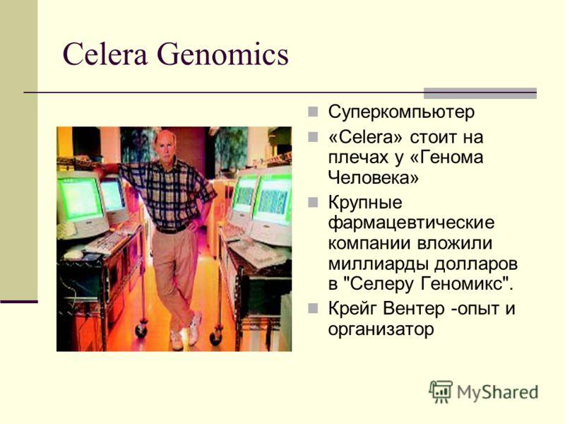 Celera Genomics Суперкомпьютер «Celera» стоит на плечах у «Генома Человека» Крупные фармацевтические компании вложили миллиарды долларов в Селеру Геномикс. Крейг Вентер -опыт и организатор