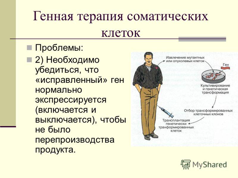 Проблемы: 2) Необходимо убедиться, что «исправленный» ген нормально экспрессируется (включается и выключается), чтобы не было перепроизводства продукта. Генная терапия соматических клеток