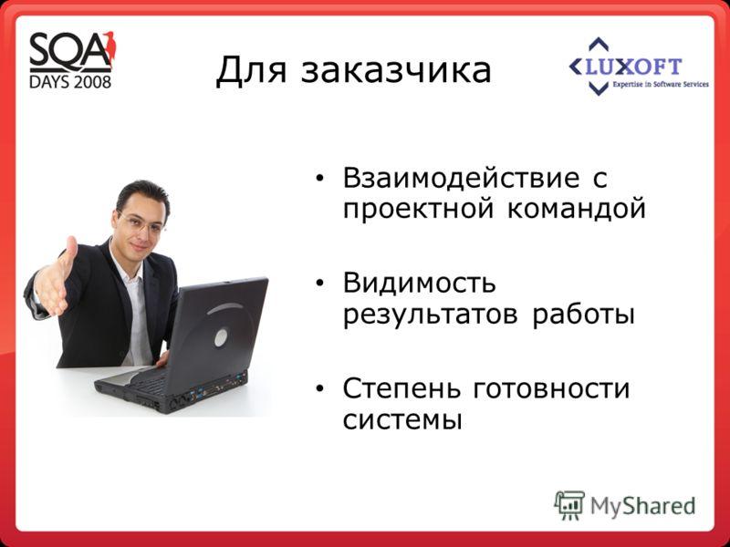 Для заказчика Взаимодействие с проектной командой Видимость результатов работы Степень готовности системы