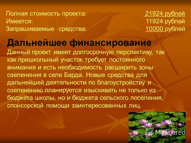 Полная стоимость проекта: 21924 рублей Имеется: 11924 рублей Запрашиваемые средства: 10000 рублей Дальнейшее финансирование Данный проект имеет долгосрочную перспективу, так как пришкольный участок требует постоянного внимания и есть необходимость ра