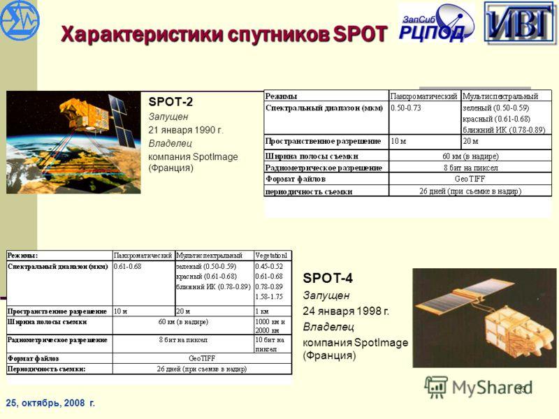 25, октябрь, 2008 г. 33 Характеристики спутников SPOT SPOT-2 Запущен 21 января 1990 г. Владелец компания SpotImage (Франция) SPOT-4 Запущен 24 января 1998 г. Владелец компания SpotImage (Франция)