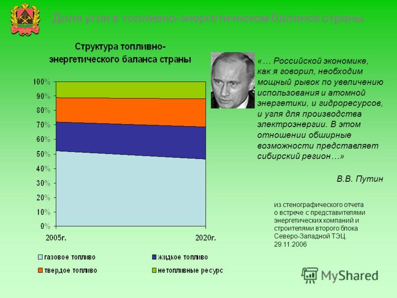 Доля угля в топливно-энергетическом балансе страны «… Российской экономике, как я говорил, необходим мощный рывок по увеличению использования и атомной энергетики, и гидроресурсов, и угля для производства электроэнергии. В этом отношении обширные воз