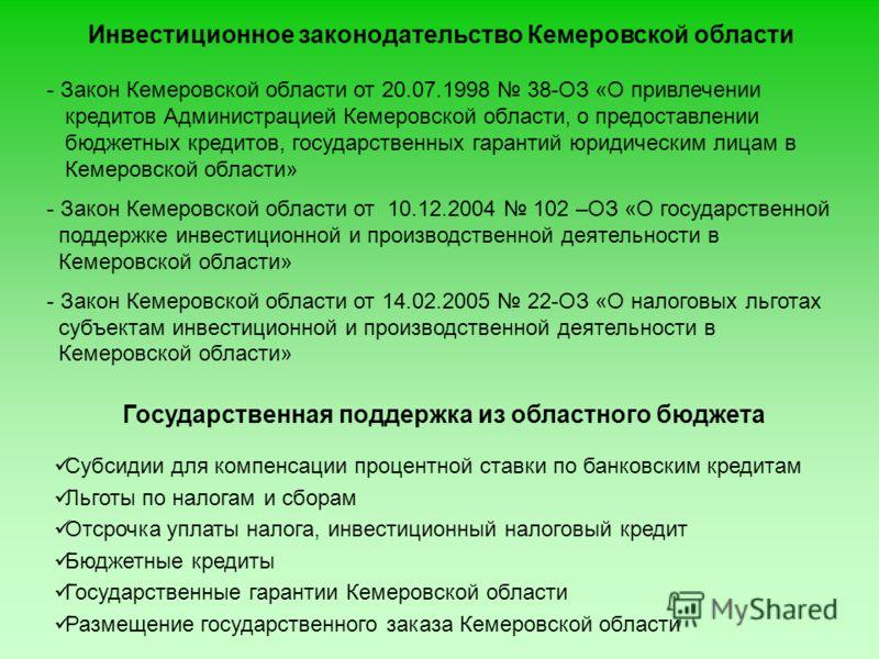 Инвестиционное законодательство Кемеровской области Субсидии для компенсации процентной ставки по банковским кредитам Льготы по налогам и сборам Отсрочка уплаты налога, инвестиционный налоговый кредит Бюджетные кредиты Государственные гарантии Кемеро