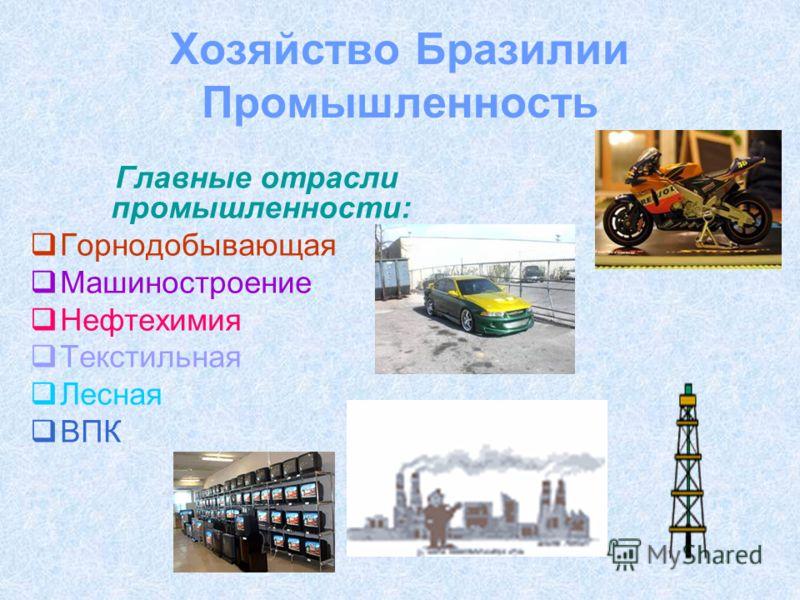 Хозяйство Бразилии Промышленность Главные отрасли промышленности: Горнодобывающая Машиностроение Нефтехимия Текстильная Лесная ВПК