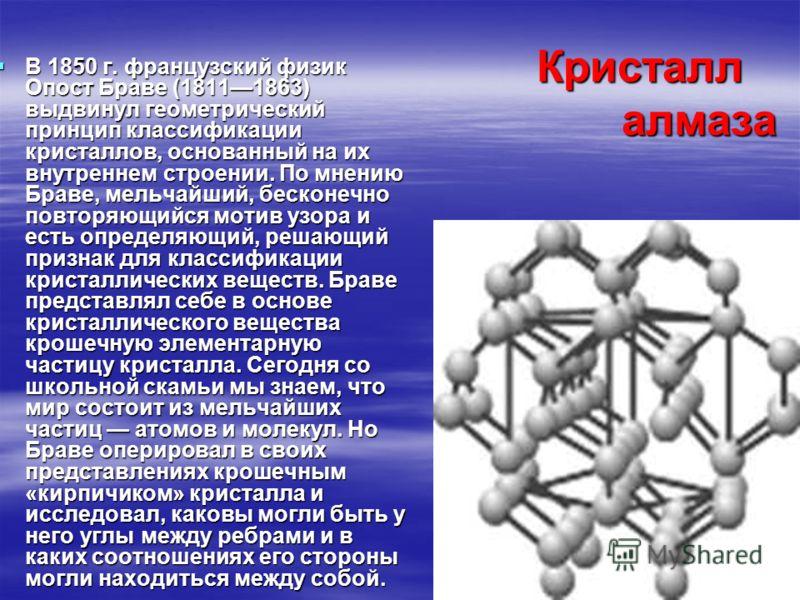 Кристалл алмаза В 1850 г. французский физик Опост Браве (18111863) выдвинул геометрический принцип классификации кристаллов, основанный на их внутреннем строении. По мнению Браве, мельчайший, бесконечно повторяющийся мотив узора и есть определяющий,