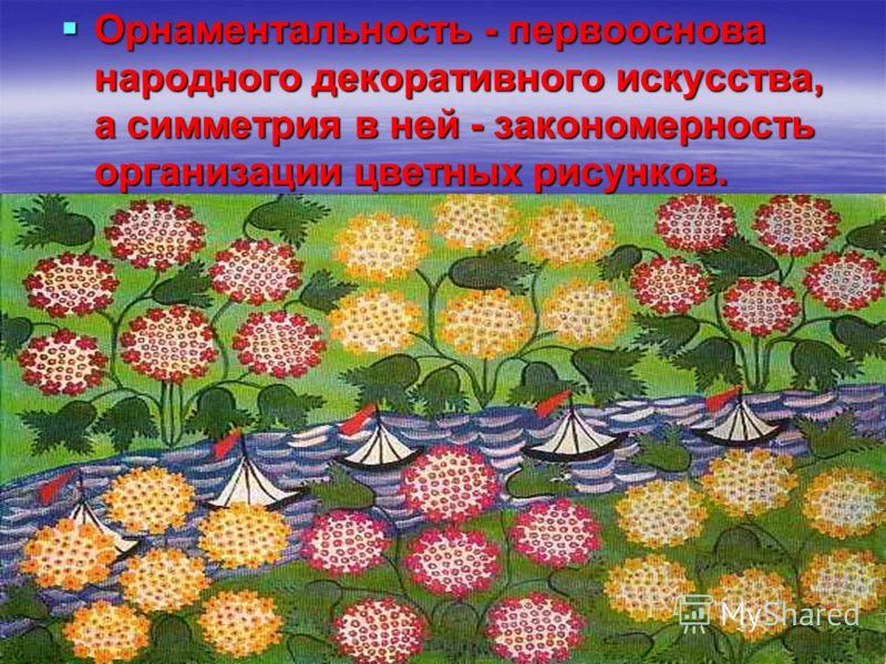 Орнаментальность - первооснова народного декоративного искусства, а симметрия в ней - закономерность организации цветных рисунков. Орнаментальность - первооснова народного декоративного искусства, а симметрия в ней - закономерность организации цветны