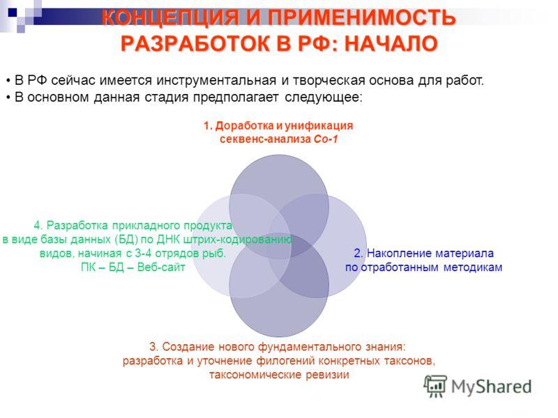КОНЦЕПЦИЯ И ПРИМЕНИМОСТЬ РАЗРАБОТОК В РФ: НАЧАЛО В РФ сейчас имеется инструментальная и творческая основа для работ. В основном данная стадия предполагает следующее: 1. Доработка и унификация секвенс-анализа Co-1 2. Накопление материала по отработанн