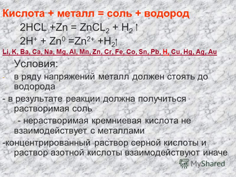 Кислота + металл = соль + водород 2HCL +Zn = ZnCL 2 + H 2 2H + + Zn 0 =Zn 2+ +H 2 Li, K, Ba, Ca, Na, Mg, Al, Mn, Zn, Cr, Fe, Co, Sn, Pb, H, Cu, Hg, Ag, Au Условия: - в ряду напряжений металл должен стоять до водорода - в результате реакции должна пол