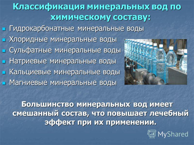 Классификация минеральных вод по химическому составу: Гидрокарбонатные минеральные воды Гидрокарбонатные минеральные воды Хлоридные минеральные воды Хлоридные минеральные воды Сульфатные минеральные воды Сульфатные минеральные воды Натриевые минераль