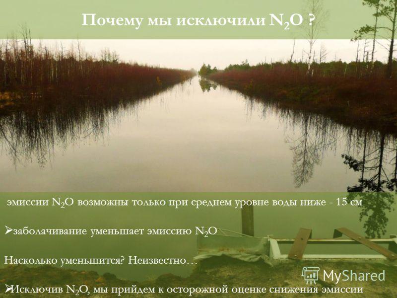 эмиссии N 2 O возможны только при среднем уровне воды ниже - 15 cм заболачивание уменьшает эмиссию N 2 O Насколько уменьшится? Неизвестно… Исключив N 2 O, мы прийдем к осторожной оценке снижения эмиссии Почему мы исключили N 2 O ?