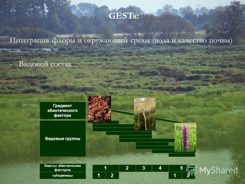 GESTs: Интеграция флоры и окружающей среды (вода и качество почвы) -Видовой состав Градиент абиотического фактора Видовые группы Классы абиотических факторов субединицы 1 12 2 345 12