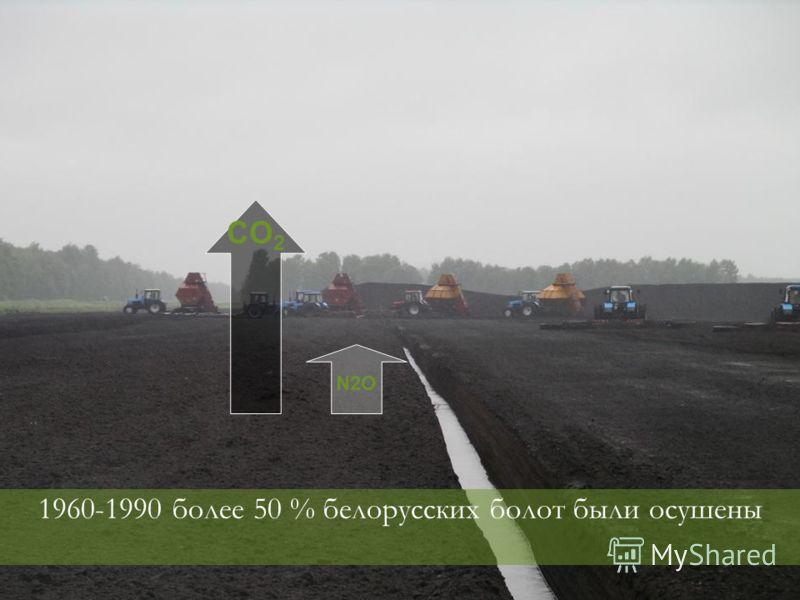 1960-1990 более 50 % белорусских болот были осушены CO 2 N2O