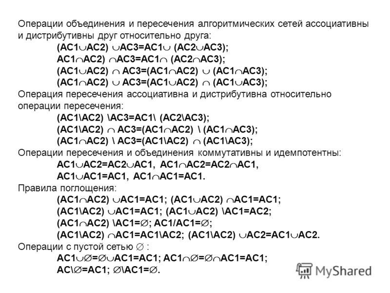 Операции объединения и пересечения алгоритмических сетей ассоциативны и дистрибутивны друг относительно друга: (АС1 АС2) АС3=АС1 (АС2 АС3); АС1 АС2) АС3=АС1 (АС2 АС3); (АС1 АС2) АС3=(АС1 АС2) (АС1 АС3); Операция пересечения ассоциативна и дистрибутив