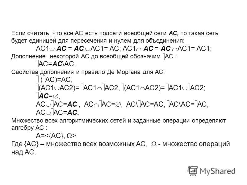Если считать, что все АС есть подсети всеобщей сети АС, то такая сеть будет единицей для пересечения и нулем для объединения: АС1 АС = АС АС1= АС; АС1 АС = АС АС1= АС1; Дополнение некоторой АС до всеобщей обозначим АС : АС=АС\AC. Свойства дополнения