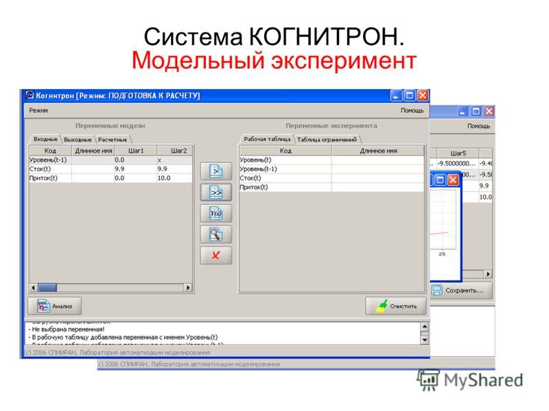 Система КОГНИТРОН. Модельный эксперимент