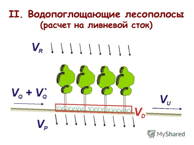 II. Водопоглощающие лесополосы (расчет на ливневой сток)