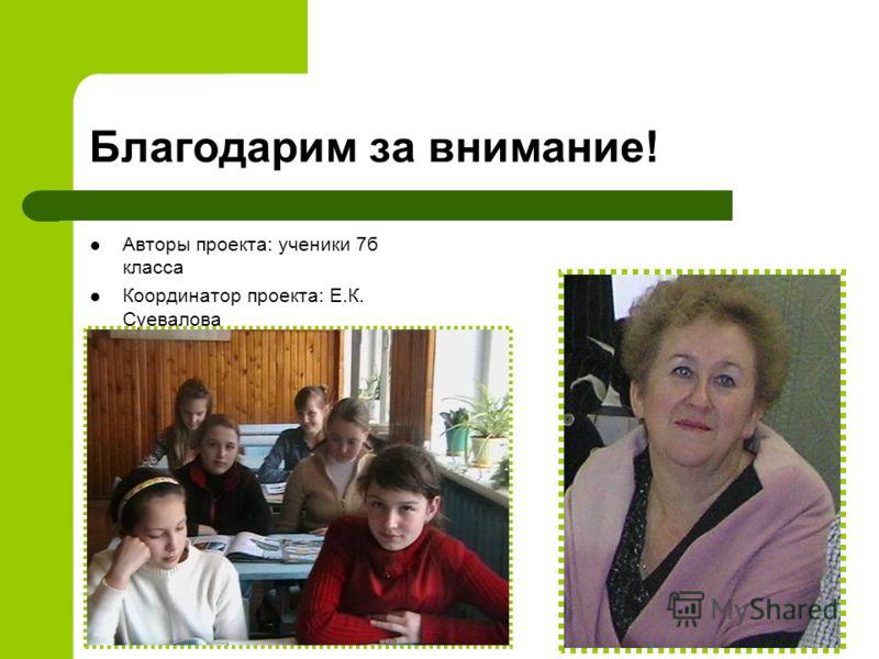 Благодарим за внимание! Авторы проекта: ученики 7б класса Координатор проекта: Е.К. Суевалова