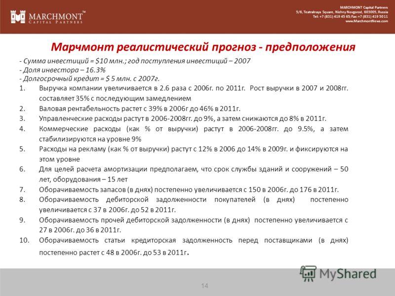 MARCHMONT Capital Partners 5/6, Teatralnaya Square, Nizhny Novgorod, 603005, Russia Tel: +7 (831) 419 45 65; Fax: +7 (831) 419 50 11 www.MarchmontNews.com Марчмонт реалистический прогноз - предположения - Сумма инвестиций = $10 млн.; год поступления