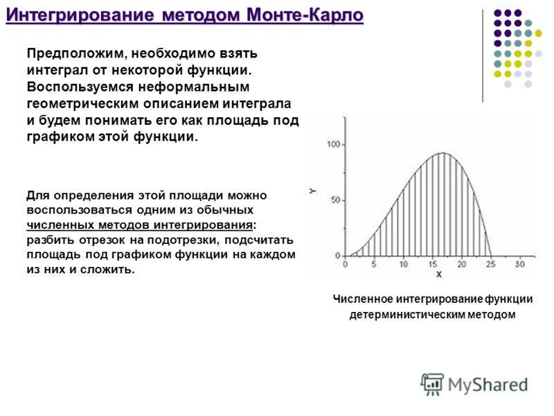 Интегрирование методом Монте-Карло Численное интегрирование функции детерминистическим методом Предположим, необходимо взять интеграл от некоторой функции. Воспользуемся неформальным геометрическим описанием интеграла и будем понимать его как площадь