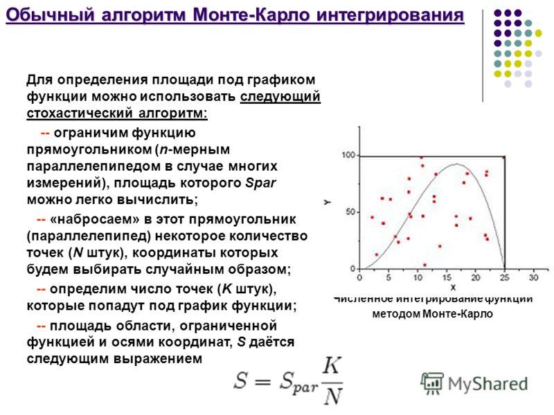 Обычный алгоритм Монте-Карло интегрирования Численное интегрирование функции методом Монте-Карло Для определения площади под графиком функции можно использовать следующий стохастический алгоритм: -- ограничим функцию прямоугольником (n-мерным паралле