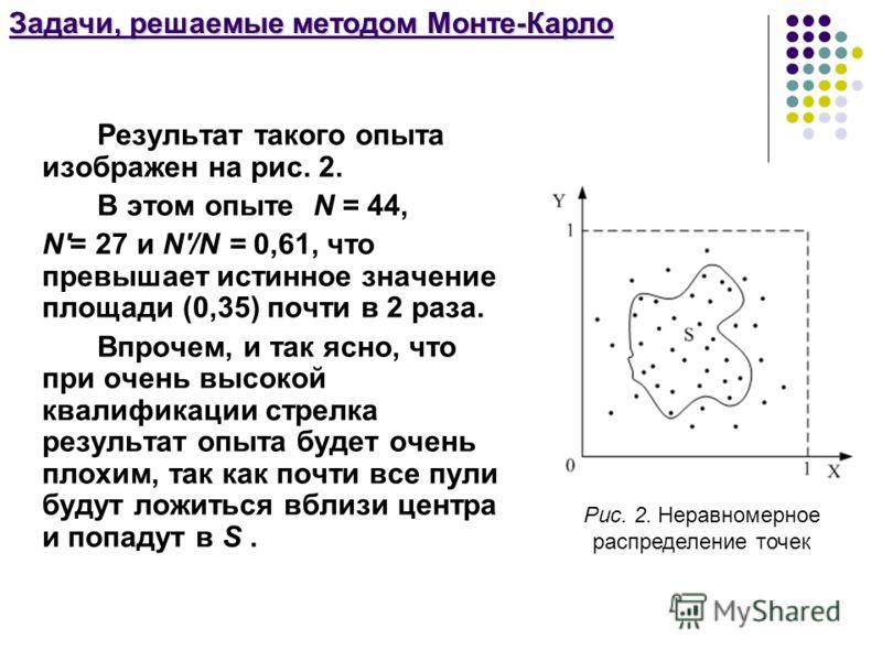 Задачи, решаемые методом Монте-Карло Результат такого опыта изображен на рис. 2. В этом опыте N = 44, N'= 27 и N'/N = 0,61, что превышает истинное значение площади (0,35) почти в 2 раза. Впрочем, и так ясно, что при очень высокой квалификации стрелка