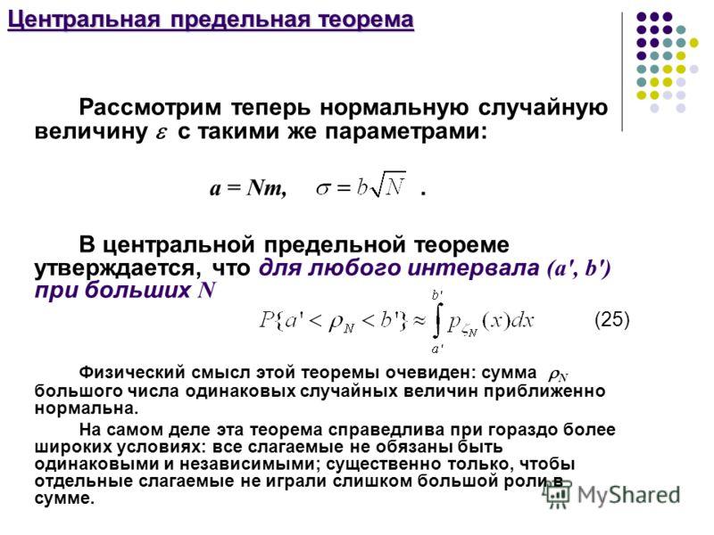 Центральная предельная теорема Рассмотрим теперь нормальную случайную величину с такими же параметрами: а = Nm,. В центральной предельной теореме утверждается, что для любого интервала (а', b') при больших N (25) Физический смысл этой теоремы очевиде