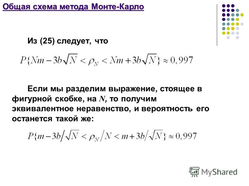 Общая схема метода Монте-Карло Из (25) следует, что Если мы разделим выражение, стоящее в фигурной скобке, на N, то получим эквивалентное неравенство, и вероятность его останется такой же: